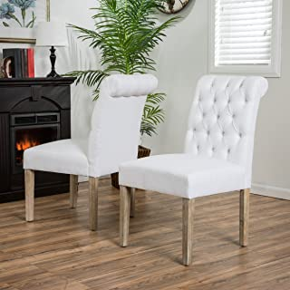 Christopher Knight Home Elmerson Roll Back Off-White Fabric Dining Chairs (Set of 2)