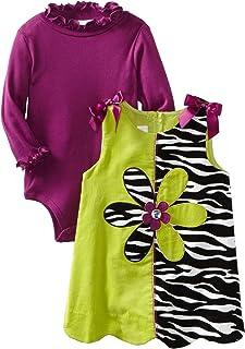 Bonnie Baby Girls' Zebra Print Colorblock Corduroy Jumper