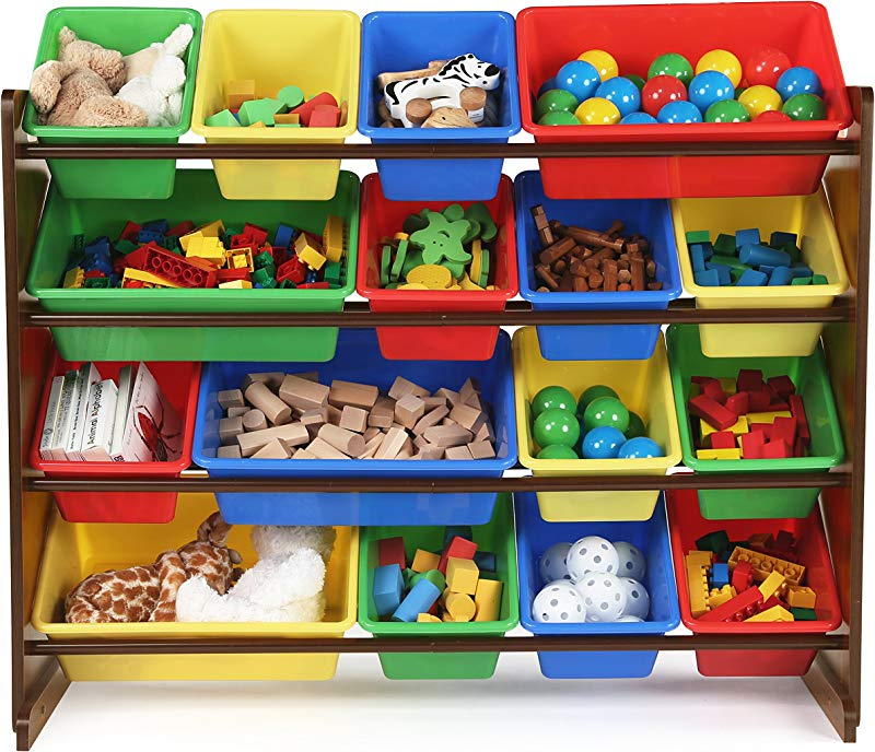 Tot Tutors WO420 Discover Collection Supersized Wood Toy Storage Organizer Toddler Espresso Primary