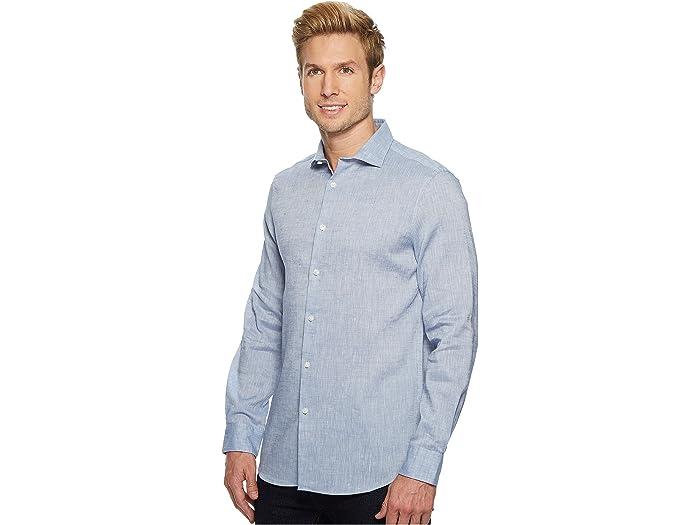 Perry Ellis Men/'s Slim Fit Solid Linen Roll Sleeve Shirt