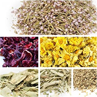 bMAKER Edible & Kosher Certified Dried Flowers Sampler: Passion Flowers, Hibiscus, Elder, Heather, Hops and Chrysanthemum Flowers - Use for Tea, Cooking, Soap Making, Bath Bomb & Crafts