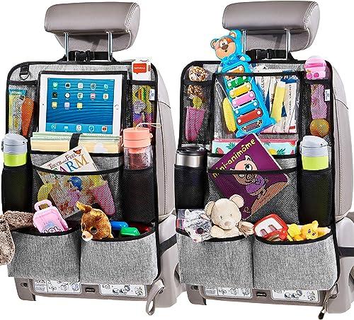 """Helteko Backseat Car Organizer - Kick Mats Back Seat Protector with 10"""" Tablet Holder - Car Back Seat Organizer for K..."""