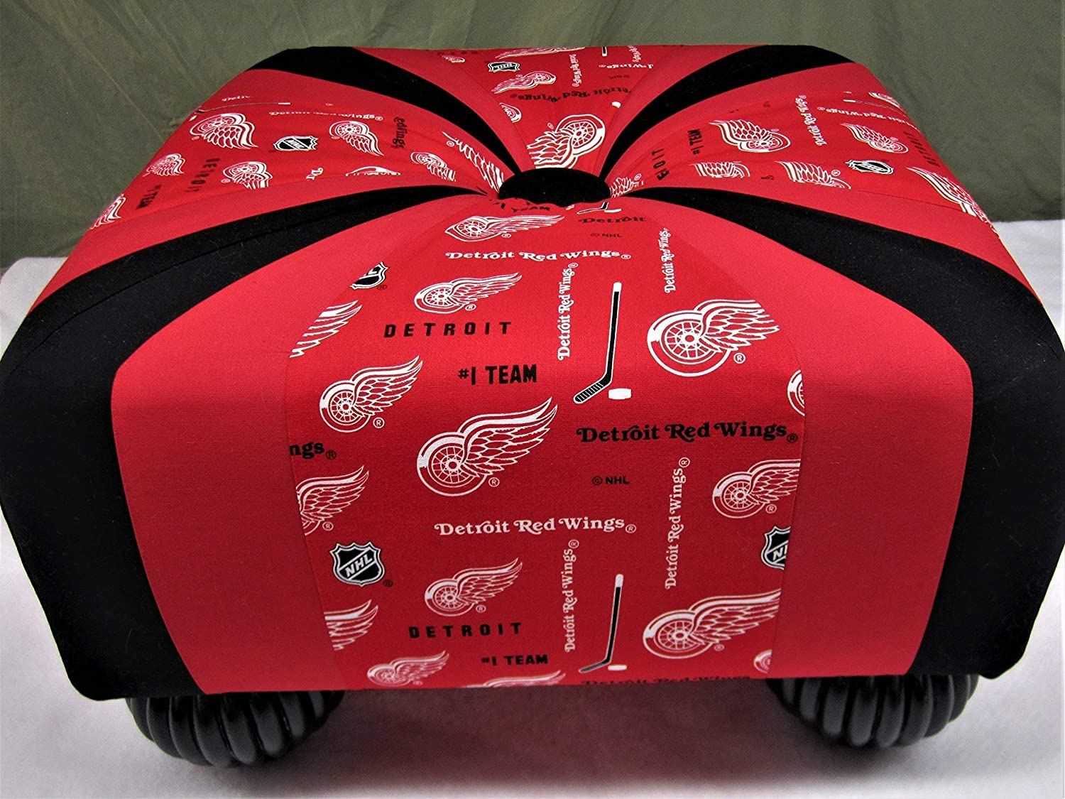18 inch Handmade Square Red and Choice Footstool Ot Hockey Tuffet White Shipping included