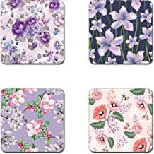 beautiful flowers coasters- 4 inch diameter-Square - neoprene coasters- Eco-Friendly, Made From 100% Recycled Rubber(Set of 4 )