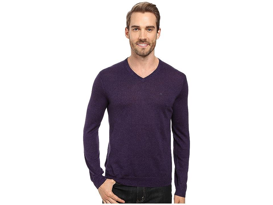 Calvin Klein Solid Merino V-Neck Sweater (Black Amet Mouline) Men