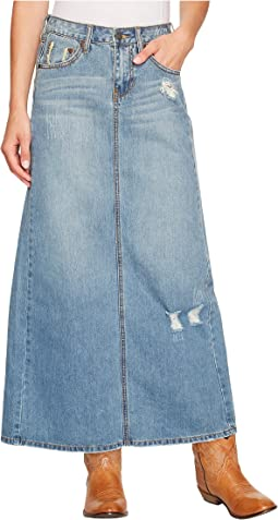 Stetson Long Denim Skirt w/ Back Slit
