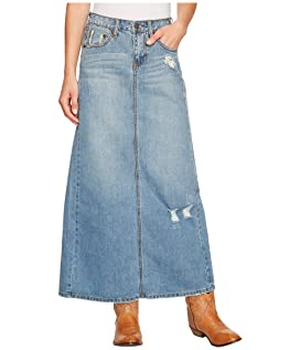 Long Denim Skirt w/ Back Slit
