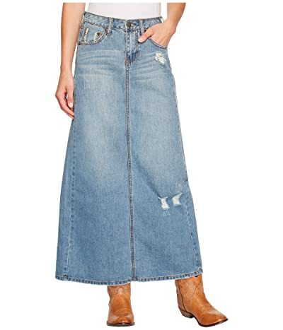 Stetson Long Denim Skirt w/ Back Slit (Blue) Women
