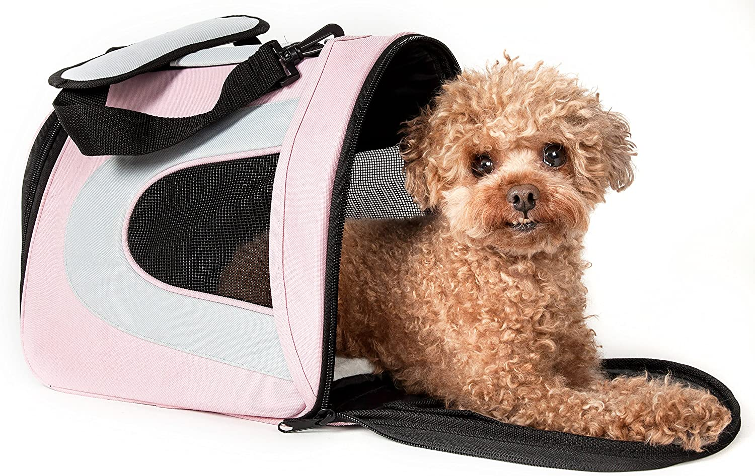 PET LIFE Airline Approved Collapsible Zippered Folding Sporty Mesh Travel Fashion Pet Dog Carrier Crate, Large, Pink & Cream