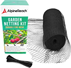 AlpineReach Garden Mesh Black Netting Kit 7.5 x 65 Feet - Protects Plants Fruits Flowers Trees - Stretch Fencing Durable Net with Zip Ties - Fine Mesh Heavy Duty Black Cover – Stops Birds Deer Animals