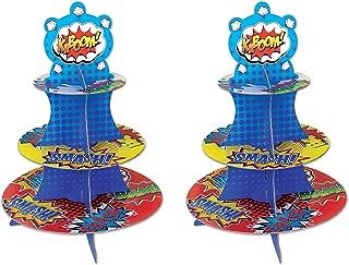 Beistle 59892 2 Piece Hero Cupcake Stand, 16