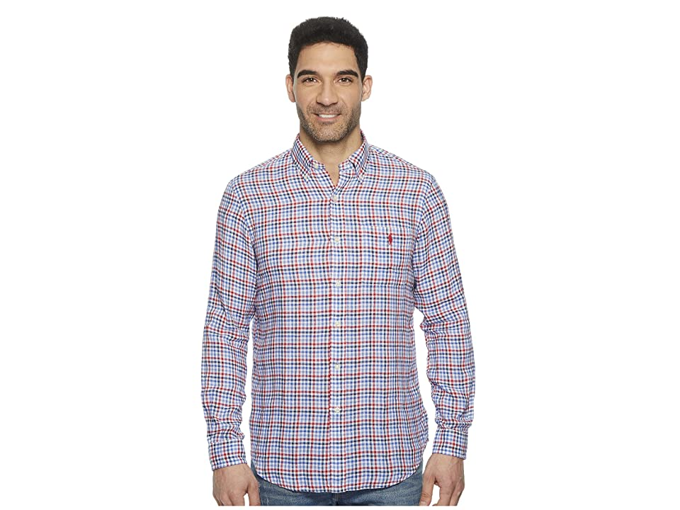 Polo Ralph Lauren Linen Long Sleeve Sport Shirt (Red/Blue Multi) Men
