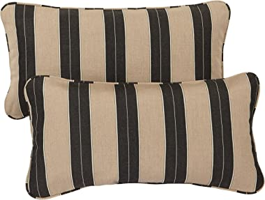 Mozaic AZPS2858 Indoor Outdoor Sunbrella Lumbar Pillows with Corded Edges, Set of 2, 12 x 24 inches, Brown & Black Stripes