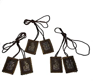 Scapulars Brown Green Leather Scapular Embroidered