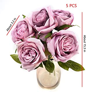 Roses artificial flowers In vase Fake Flowers for Decoration purple Silk flowers in bulk wholesale for Crafts arrangements,Indoor Home Decoration,Centerpieces,Table,Room,Wedding Bouquets (purple)