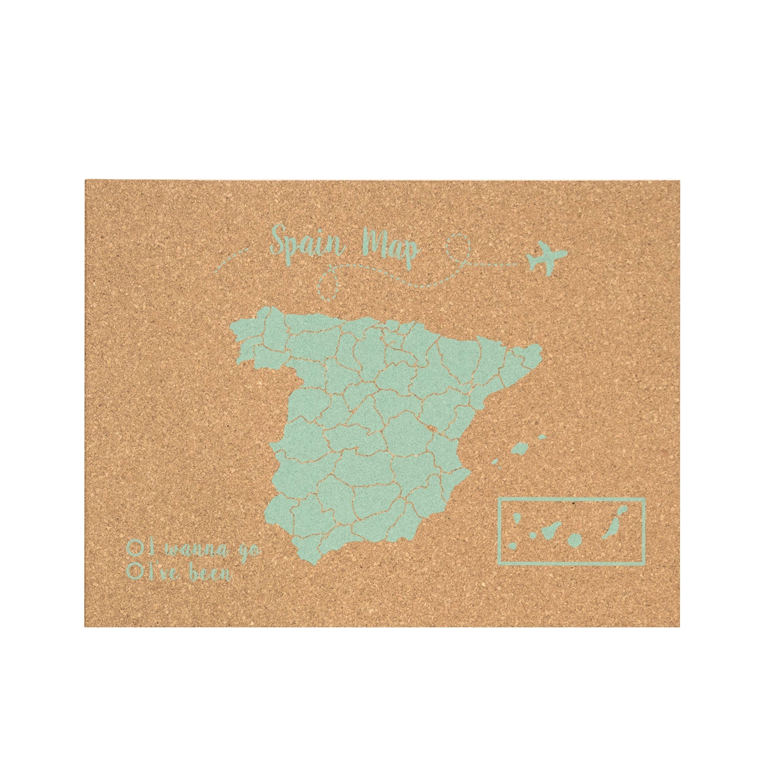Decowood - Mapa de Corcho España, Grande, para Marcar Tus Viajes y Colgar en la Pared, Verde Aqua - 90x60cm: Amazon.es: Hogar