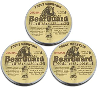 Foggy Mountain, a Maine Outdoor Solutions Brand Bear Guard Original - Boot and Leather Waterproofing - Beeswax and Bear Grease - 3 Pack