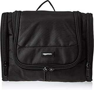 AmazonBasics Hanging, Travel Toiletry Bag Organizer, Shower Dopp Kit, Black