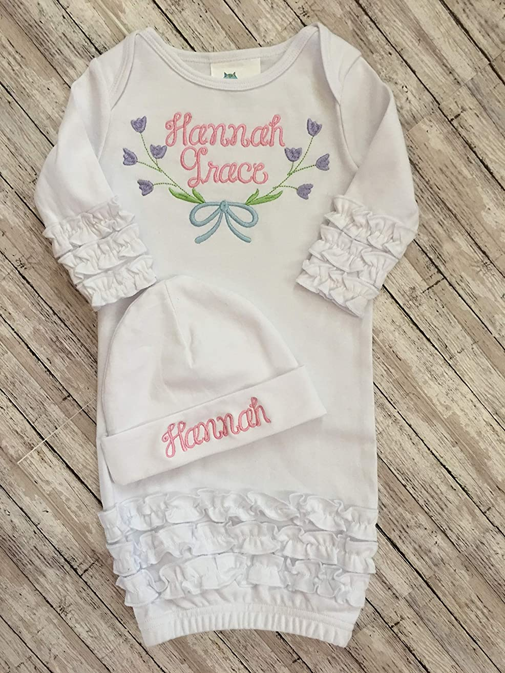Baby Girl Personalized Coming Home Outfit Newborn Coming Home Gown and Hat Personalized Infant Girl Gown and Hat