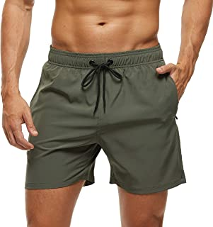 Arcweg Men's Swim Trunks Mens Board Shorts with Zipper Pockets Surfing Stretchy Beach Shorts Breathable Mesh Lining Quick Dry