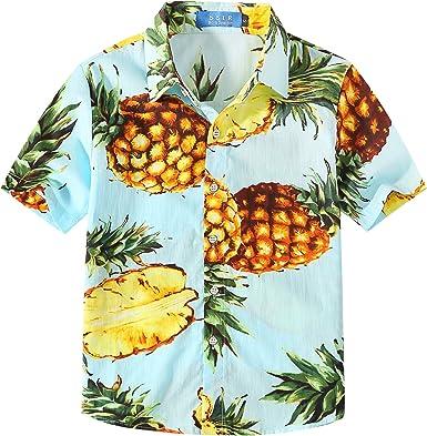 SSLR Camisa Manga Corta con Estampado de Piñas Estilo Hawaiana para Niño