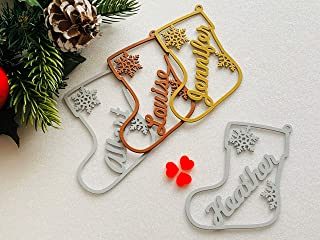 Personalized Christmas Name Ornament Custom Gift Name Tags Xmas Bauble Hanging Decorative Metal Acrylic Wood Stocking Present Tag Tree Decorations Handmade Label Party Favor First Laser Cut Snowflake