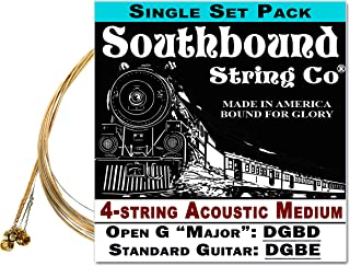 Acoustic Medium 4-String Cigar Box Guitar Strings - Open G/Standard Tuning