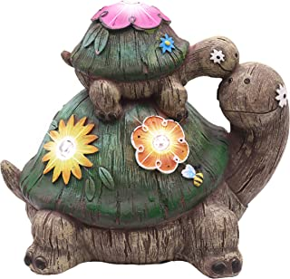 TERESA'S COLLECTIONS 6.7 Inch Garden Statues Turtle Figurines, Solar Powered Garden Lights for Outdoor Patio Yard Decorations