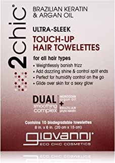 Giovanni 2chic Brazilian Keratin and Argan Oil Ultra-Sleek Super Potion Touch Up Hair Towelettes, 10 Count