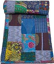 Mycrafts Floral Print Kantha Stitch Quilt Bedspread Pure Cotton Throw Blanket Patchwork Gudri King Size Bed Sheet, 88 x106...