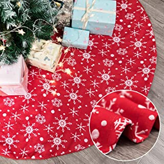 Kederwa Red Christmas Tree Skirt, 48 Inches Large Xmas Tree Skirts with Sliver Snowflake Pattern for Christmas Decorations, Christmas Tree Decoration, Xmas Party Holiday Decorations