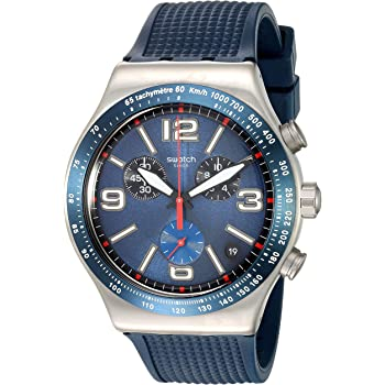 Swatch 1901 Irony Stainless Steel Quartz Rubber Strap, Blue, 21 Casual Watch (Model: YVS454)