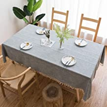 Tablecloth - Grey Stitched with Tassels - Linen Cotton Blend - Fringed - Dust-Proof Kitchen Dining - Embroidered Rectangle Tablecloth - 55 x 70 inches