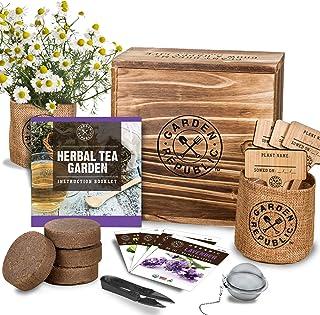 Indoor Herb Garden Seed Starter Kit - Organic Herbal Tea Growing Kits, Grow Medicinal Herbs Indoors, Lavender Chamomile Lemon Balm Mint Seeds, Soil, Plant Markers, Planting Pots, Infuser, Planter Box