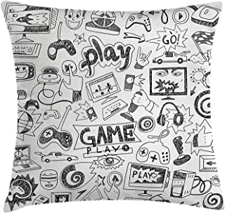 Ashasds Video Games Monochrome Sketch Style Gaming Design Racing Monitor Device Gadget Teen 90'S Throw Pillow Covers For Home Indoor Friendly Comfortable Cushion Standard Size 22x22 IN