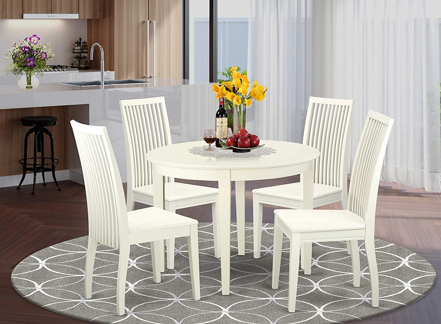 East West Furniture Dining Room Table Set 5 ☆ very popular - Din Wooden Max 73% OFF 5 Wood Pc