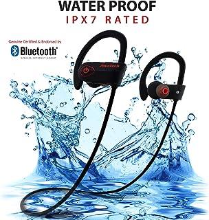 INSPIRE Wireless Bluetooth Earphones - Noise Cancelling Running Headphones with Mic, IPX7 Waterproof & Sweatproof Sports In-Ear Earbuds - Genuine Bluetooth Certified - Best Sports Headphones - Bonus Carry Pouch (Black)