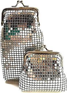 Womens Metal Mesh Eyeglass Case/Long Cigarette Case and Coin Purse