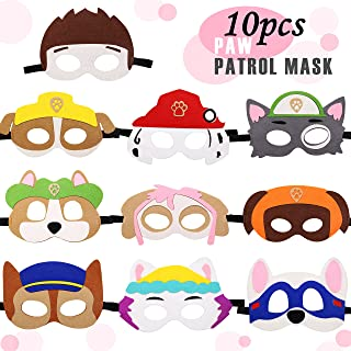 Kitticcino Paw Dog Patrol Toys Puppy Party Masks Birthday Cosplay Character Party Favors Supplies for Kids (Set of 10)
