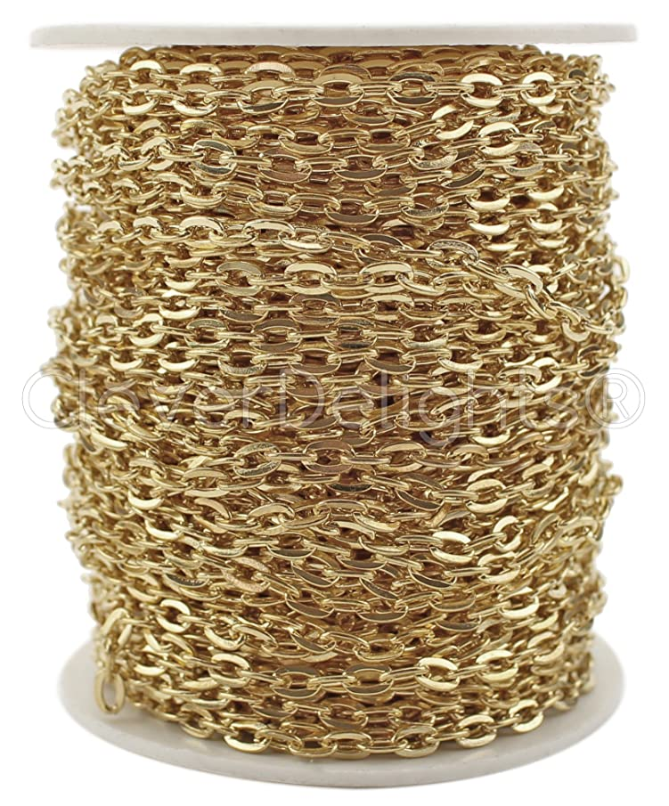 CleverDelights Cable Chain Roll - 100 Feet - Champagne Gold Color - 3x4mm Link - Bulk Flat Oval Chain Spool