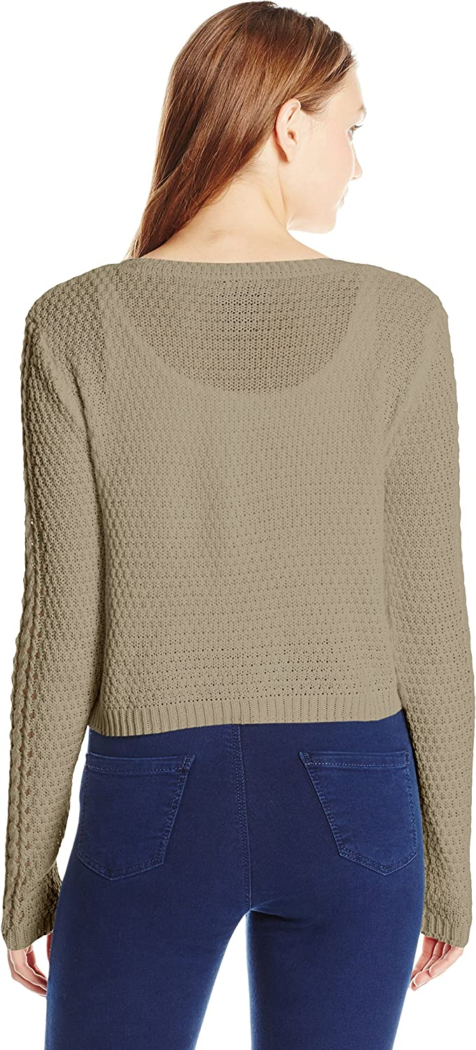 Its Our Time Juniors Miterred Cable Crew Neck Crop Pullover Sweater