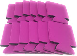 CSBD Beer Can Coolers Koozie Sleeves, Soft Insulated Reusable Drink Caddies for Water Bottles or Soda, Collapsible Blank DIY Customizable for Parties, Events or Weddings, Bulk (12, Fuchsia)