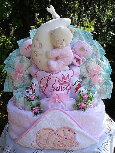 Windeltorte Little Princess Kaputzenbadetuch,B nspieluhr und Babyset Geburt,Taufe,Hochzeit