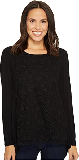 Tribal - Long Sleeve Crochet Lace Front Blouse w/ Back Pleat Detail