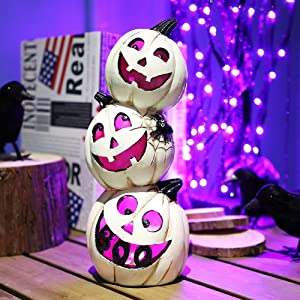 SAND MINE Halloween Tabletop Decorations, Resin Halloween Decor Jack O Lanterns with Batteries, Pumpkin Table Lamp Decorative Light for Halloween Fall Home Table Decoration, White