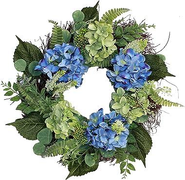 "Worth Imports 24"" Hydrangea Wreath, Blue,Green,Brown"