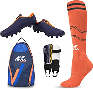 Nivia Football Kit Combo Dominator Shoe, Shin Guard, Stocking and Shoe Bag