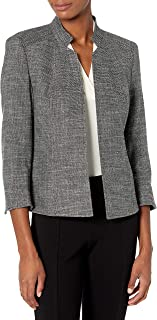 ANNE KLEIN Women's Cropped Stand Collar JKT