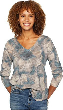 V-Neck Long Sleeve Abstract Floral Top