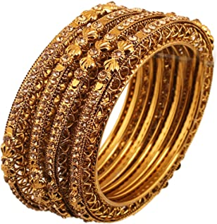 "Touchstone ""Golden Bangle Collection Ethnic Style Filigree Work Yellow Citrine Rhinestone Indian Bollywood Designer Jewelr..."